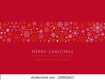 Red Christmas card with wishes and snowflakes. Merry Christmas and Happy New Year.
