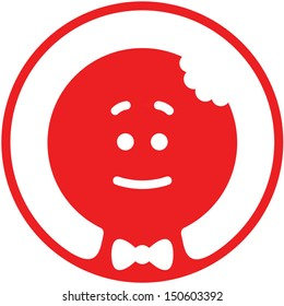 Red Christmas cookie man with a bite on its head while smiling, wearing a bow tie and posing inside a circle in a shy but nice attitude