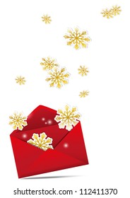 Red Christmas envelope with golden snowflakes