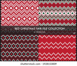 Red Christmas fair isle pattern collection includes 4 design swatches for fashion textiles, knitwear and graphics