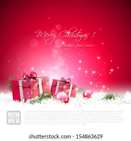Red Christmas greeting card with gift boxes and baubles in the snow
