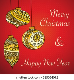 Red Christmas greeting card with hanging gold and yellow ornaments with text Merry Christmas & Happy New Year