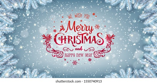 Red Christmas and New Year Text on blue Xmas background with snow fir branches, snowflakes, light, stars. Merry Christmas card. Vector Illustration