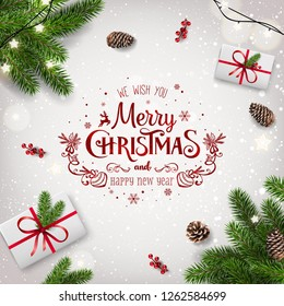 Red Christmas and New Year Typographical on white background with fir branches, gift boxes, pine cones, garland of stars. Xmas  and New Year theme. Vector Illustration