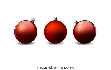 Red Christmas ornament balls with shadow on the white background.