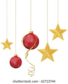 Red Christmas ornaments with gold stars hanging