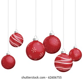 Red Christmas ornaments vector