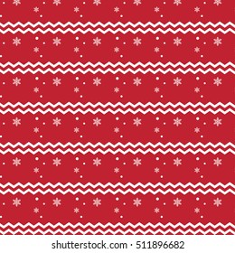 Red Christmas pattern with snowflakes and zigzag lines