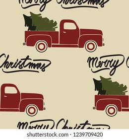Red christmas retro truck. Seamless pattern.
