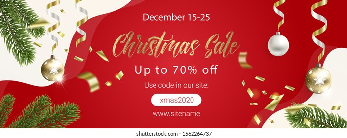 Red Christmas sale banner with Christmas trees for search networks and social networks.