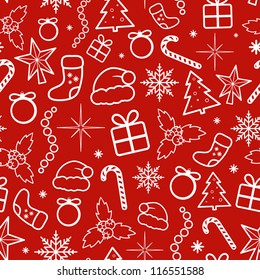 Red Christmas Seamless Pattern. Vector illustration.