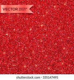 Red Christmas shining glitter vector seamless pattern