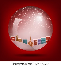 Red Christmas snow globe with a town inside for print or web use