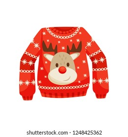 Red Christmas sweater, knitted warm jumper with cute reindeer vector Illustration on a white background