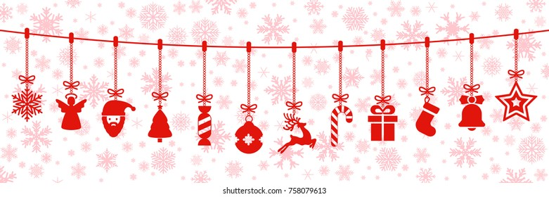 Red Christmas symbol elements hanging, Merry Christmas, Happy New Year – vector