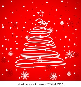 Red Christmas template with swirly tree. Vector illustration