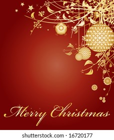 Red christmas themed greeting card