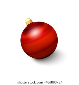 Red christmas toy on a white background. The volume figure. Christmas decoration. The pattern of bands