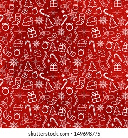 Red Christmas Traditional Pattern. Vector seamless texture