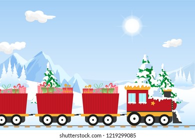 Red christmas train in a beautiful winter wonderland