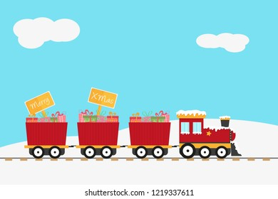 Red christmas train with gifts and wooden sign with merry christmas