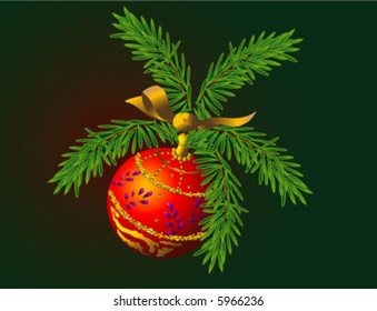 Red Christmas tree decoration -- sphere on a branch with a bow
