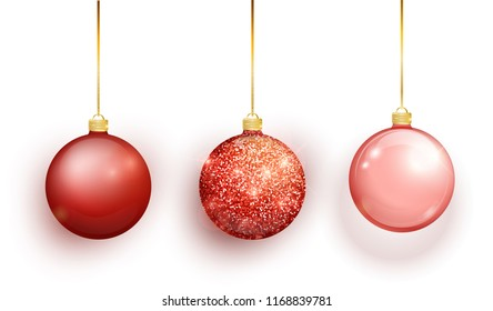 Red Christmas tree toy set isolated on white background. Stocking Christmas decorations. Vector object for christmas design, mockup. Vector realistic object Illustration 10 EPS