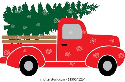 Red Christmas truck with green tree Illustration