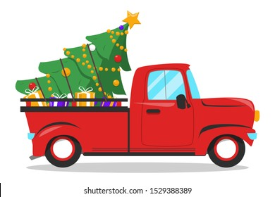 Red christmas truck and tree with gifts inside. December holiday celebration, merry christmas. Transportation and delivery vector isolated.