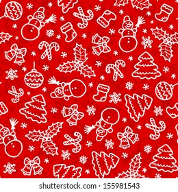 Red christmas vector seamless pattern in cartoon style