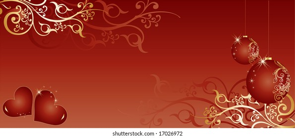 Red christmas-themed background pattern with toys, a pair of red hearts and swirls