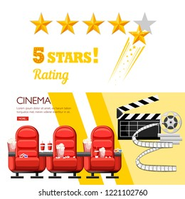 Red cinema chairs. 5 stars rating concept cinema design. Cola and popcorn. Website page and mobile app design. Flat vector illustration.
