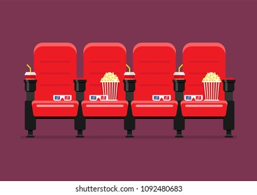 Red Cinema chairs vector illustration with popcorn drinks and glasses
