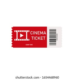 Red cinema ticket isolated on white background. Card for movie. Realistic front view. Pass ticket on film. 3d films coupon icon. Entertainment and concerts concept. Modern theatres and cinemas. Vector