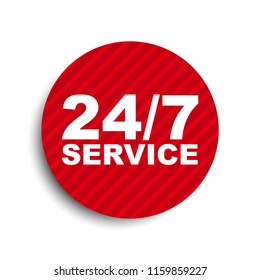 red circle banner element 24/7 service