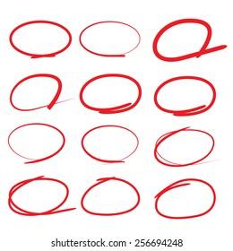 red circle, highlight circle