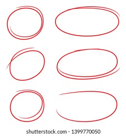 red circle ink brush for highlight and marking text