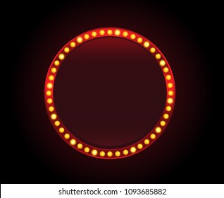 Red circle lights banner sign copyspace