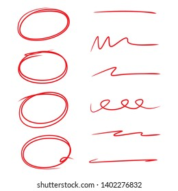 red circle marker set and hand drawn  line for marking text