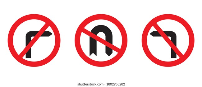 Red circle prohibition road sign set. No left turn, no right turn, no U-turn. Turn and turning back is forbidden. Vector illustration of traffic sign isolated on white background.