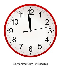 Red circle retro analog wall clock with black hands and numbers with one minute left to 12 hour. 11:59 / 23:59 time vector art image illustration, isolated on white background, realistic design eps10