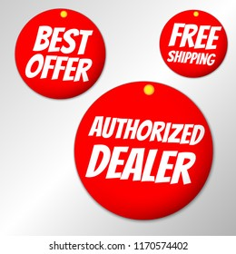 Red Circle sale badge with best offer, free shipping and Authorized dealer text