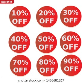 Red Circle Save Up To 10 - 90 Percent OFF Discount Sticker Tag Isolated on White Background. Vector icon. Illustration. EPS10.