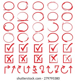 red circles, check marks, arrows