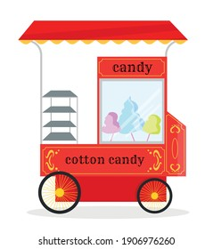 red circus cart kiosk on wheels. cotton candy store. red and glass showcase with cotton wool.