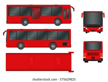 Red City bus template. Passenger transport all sides view from top, side, back and front. Vector illustration eps 10 isolated on white background.