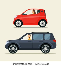Red сompact city car and black suv car. Vector flat illustration