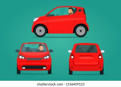 Red сompact city car set. Car with driver man side view, back view and front view. Vector flat illustration