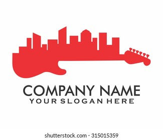 red city silhouette guitar logo icon image