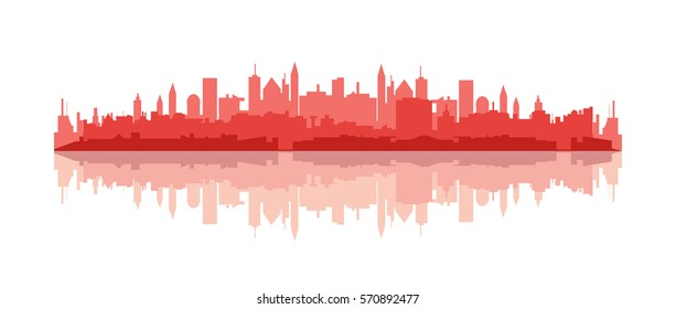 Red cityscape silhouette and reflection vector illustration